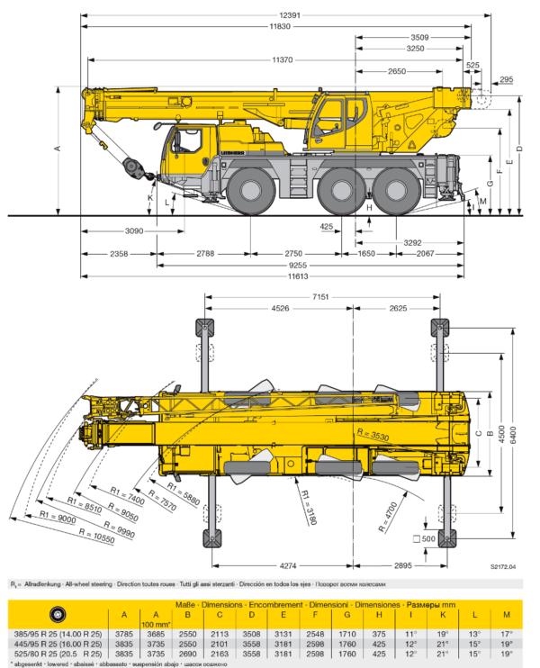 Автокран Liebherr 50 т, стрела 40 + 16 м гусек