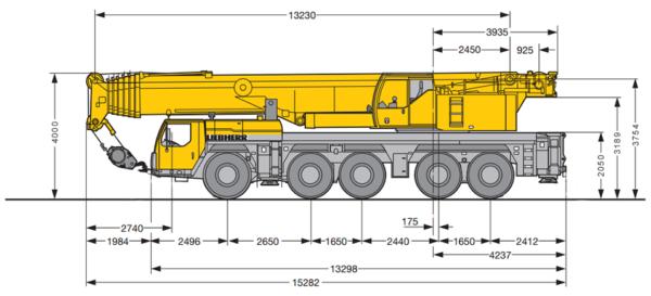 Автокран Liebherr 200 т, стрела 72+22 м гусек